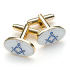 Quality White Rugby Ball Design Masonic Cufflinks with Square & Compass