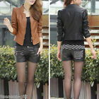 Women Slim PU Leather Stand-up Collar Short Jackets Coats M1888