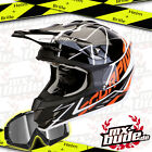 SCORPION Motocross Helm VX-15 Air Sprint schwarz-weiss-orange + MX-Bude MX-2