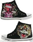 ED HARDY Womens/Ladies Midtown DEH Trainers Hi-Shoes/Boots BLACK Sizes 4.5-5.5
