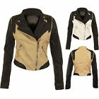Women's PVC PU Faux Leather Side Zip Contrast Biker Bomber Ladies Jacket 8-14