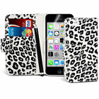 LEOPARD BOOK WALLET CASE FLIP LEATHER CASE COVER FOR APPLE IPHONE 5C