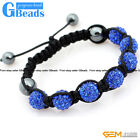 10mm Rhinestone Czech Crystal 7 Ball Beads Bracelet Adjustable Free Shipping