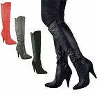 LADIES WOMENS HIGH HEEL POINTED TOE MID CALF KNEE WIDE LEG STRETCH BOOTS SIZE