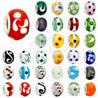 5/10pcs Large Hole Round Lampwork Glass Beads European Charm Bracelet Mixed Hot