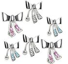 New Surgical Steel Reverse Bow Knot Belly Naval Bar Stud with Gems Clear Pink
