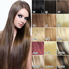 15 Colors 7pc clip in on real human hair extensions black brown blonde red new