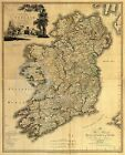 1797 LARGE HISTORICAL WALL MAP OF IRELAND Largest Sizes