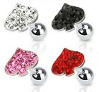 New Surgical Steel Multi Gem Playing Card Spade Tragus Labret Cartilage Bar Stud