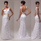 2015 New Vintage Sexy Lace Wedding Long Dresses Prom Bridal Evening Party Dress