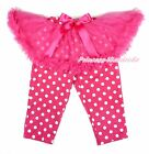 Hot Pink Tutu Polka Dots Legging Hot Pink Bow Dress Pettiskirt Pant Tight 1-7Y