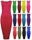 Womens Black Bodycon Sleeveless Midi Dress Navy Red Ladies New UK 6 8 10 12 14