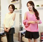 Womens Sexy Off Shoulder Knitted Long Puff Sleeve Knitwear Pullover Sweaters Top