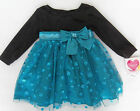 NWT: New Youngland Blue & Black Holiday Christmas Dress, 12 or18 Month, Rtls $50