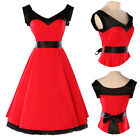 Slim Red Cotton Ball Cocktail Evening Prom Party Dress Vintage 50s Rockabilly