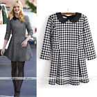 Classic Lady Peter Pan Collar Houndstooth Print 3/4 Sleeve Bodycon Dress THICK
