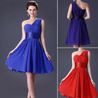 One Shoulder Bridesmaid Prom Bridal Gown Evening Party Cocktail Short Dress Gown