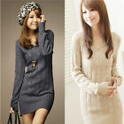Korean Women's Sim V-neck Autumn Winter Pullover Long Sleeve Sweater Tops Dress