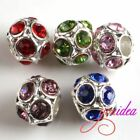 New 6pcs Hot Mixed Rhinestones Alloy Beads Charms Findings Fit Bracelet