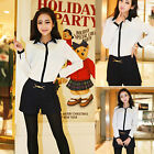 Fashion Women Long Sleeve Cotton Shirt Top Button Down Collar Relaxed Blouse