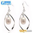 8-9mm New Beautiful Pearl Beads Silver Hook Twist Shape Dangle Earrings Jewelery