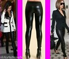 GIRLS WOMENS LADIES SHINY WET LEATHER LOOK LEGGINGS PANTS TROUSERS ANKLE LENGTH