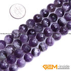 "Natural Purple Dream Lace Amethyst Faceted Round Beads 15""6mm  8mm 10mm 12mm"