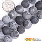 "Black Fire Crackle Agate Frost Round Beads For Jewelry Making 15"" 6mm 8mm 10mm"