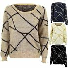 Women's Fluffy Furry Long Sleeve Silver Gold Black Glitter Pattern Ladies Jumper