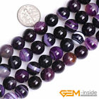 Round Banded Purple Agate Jewelry Making loose gemstone beads strand 15""