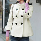 New Womens Stand Collar Jacket Loose 3/4 Sleeve Double Breasted Pea Coat fashion
