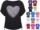 Womens Heart Print Sequin Ladies Short Batwing Sleeve Tie T-Shirt Top Plus Size