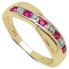 9CT GOLD PINK TOPAZ & DIAMOND CHANNEL SET CROSSOVER ETERNITY RING
