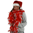 RED WHITE MIXED FEATHER BOA 80G THICK CHRISTMAS FANCY DRESS XMAS PARTY BURLESQUE