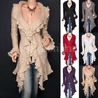 Beautiful Ruffles Knit Collared Asymmetric Hem Cardigan Long Sweater Jacket