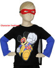 MICKEY MOUSE CLUBHOUSE 2T 3T 4T Boys SHIRT TEE TOP CAPE MASK Long Sleeves DISNEY