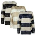 LADIES CHUNKY REVERSE KNIT LONG SLEEVE GOLD JUMPER WOMEN SLOUCHY PARTY TOP 10-14