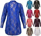 New Womens Plus Size Floral Lace Cardigan Long Sleeve Womens Waterfall Top 12-26