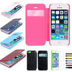 PU Leather Case Flip Cover Window View Smart Phone Skin for For iPhone 5C + Film