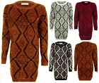 Ladies Aztec Fluffy Furry Long Sleeve One Size Winter Knited Women's Jumper
