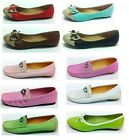 LADIES WOMENS FLAT LEATHER LOOK CASUAL SLIP ON LOAFERS PUMPS WORK SHOES SIZE