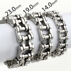 14/19/23mm Silver Chain Bracelets for Mens Biker Motorcycle 316L Stainless Steel
