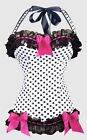 Red BOW on Black Ruffle Halter Corset S-2XL Polka Dots Bustier Lingerie A3128
