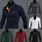 Men's Stylish Long Sleeve Slim Fit Polo Shirts Tops Casual Tee T-Shirt M-XXL New