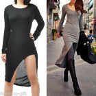New Sexy Women Irregular Long Sleeve Slim Maxi Long Split Dress M1966