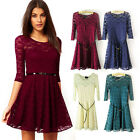 Women Sexy Lace Scoop Neck 3/4 Sleeve Skater Dress Slim Party Cocktail Dress