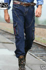 Mens AutumnWinter Washing Denim Pants Loose Leisure Outdoor Tide Trousers Jeans