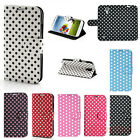 Polka Dots PU Leather Flip Pouch Stand Case Cover For Samsung Galaxy S4 IV i9500