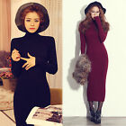 Korea Womens Slim High Neck Long Sleeve Slit Knitted Sweater Bodycon Party Dress