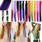"1pc Clip On In Hair Extension Piece 15"" Synthetic Long Straight Gradient Colors"